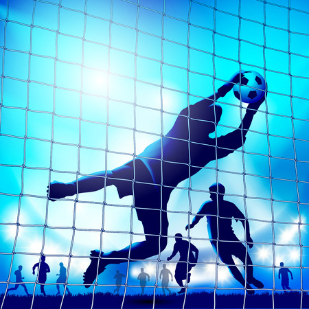 Goalkeeper in action. Catches the ball. Vector illustration