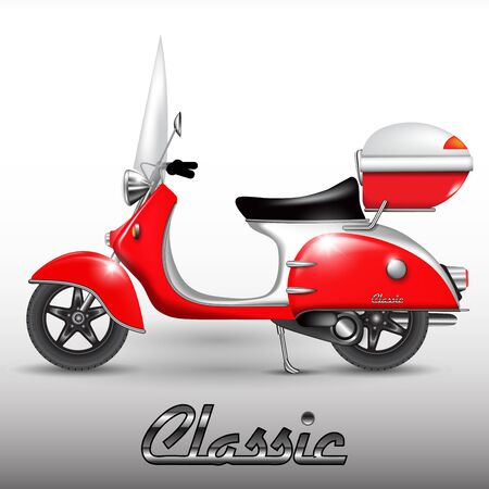 Red vintage scooter isolated on background. Vector illustration Çizim