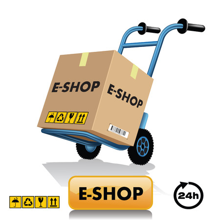 Metal hand truck with cardboard package. Vector illustration