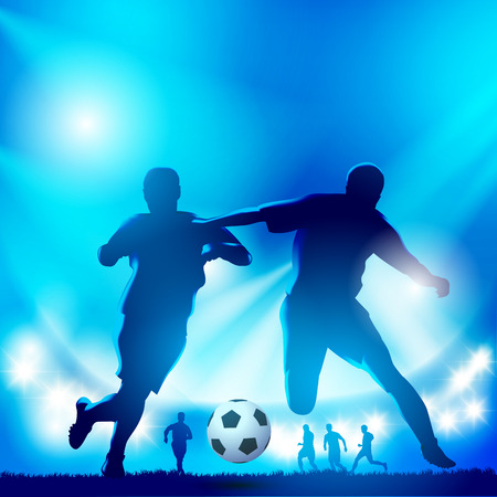 Two soccer players on the field. Vector illustration