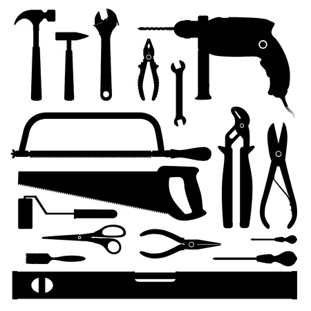 Many tools isolated on white. Vector illustration