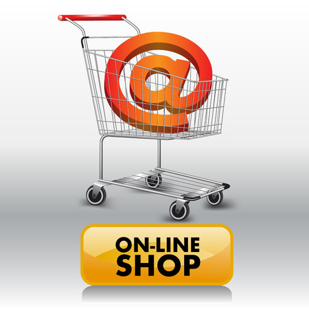 mail service: E-mail sign in a shopping cart. Vector illustration