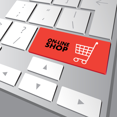 Shopping cart icon on keyboard key. Vector illustration