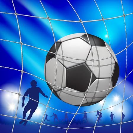 Soccer ball (football) into the net. Vector illustration Stok Fotoğraf - 47494370