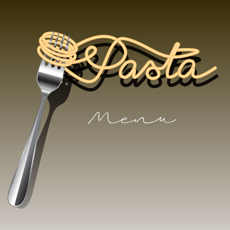 fork: Pasta menu template isolated on background. Vector illustration