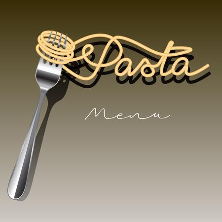 pasta: Plantilla de menú pastas aislada en el fondo. Ilustración vectorial