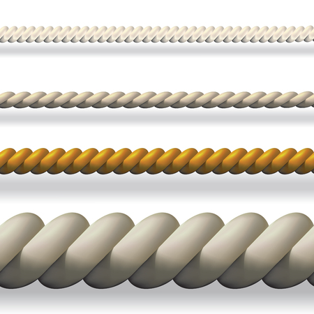 spruce thread: Seamless collection of different ropes isolated on background. Vector illustration