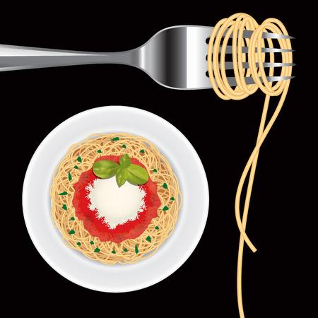 Italian food. Pasta on fork isolated on black. Vector illustration