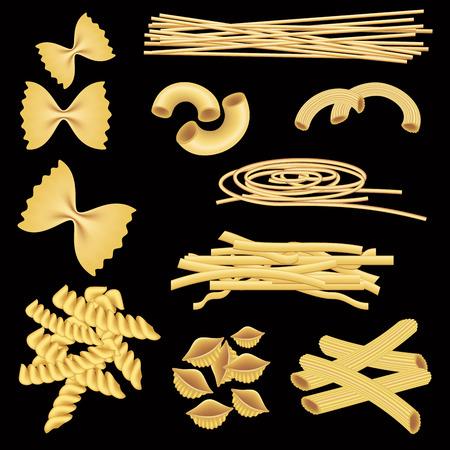 italian pasta: Different types of italian pasta isolated on black. Vector illustration