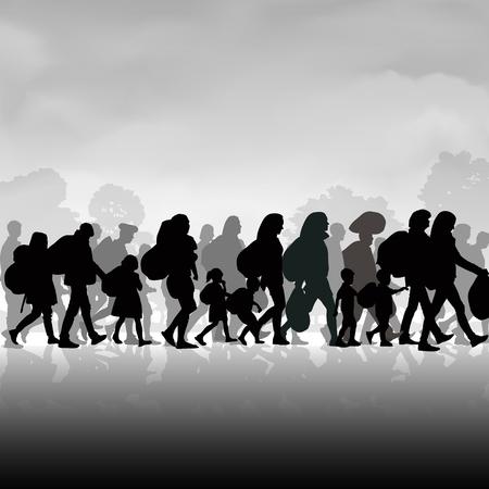 Silhouettes des réfugiés personnes à la recherche de nouvelles maisons ou la vie en raison de la persécution. Vector illustration Vecteurs