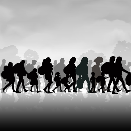 Silhouettes of refugees people searching new homes or life due to persecution. Vector illustration Ilustracja