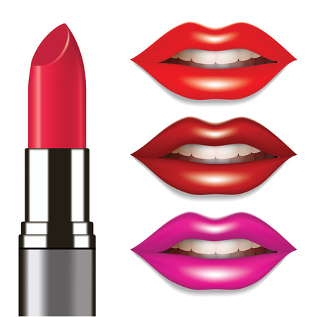 Lipstic and female lips colored in different lipstic colors. Vector illustration Stok Fotoğraf - 47684026