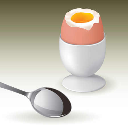 boiled: Soft boiled egg in an egg cup isolated on background. Vector illustration