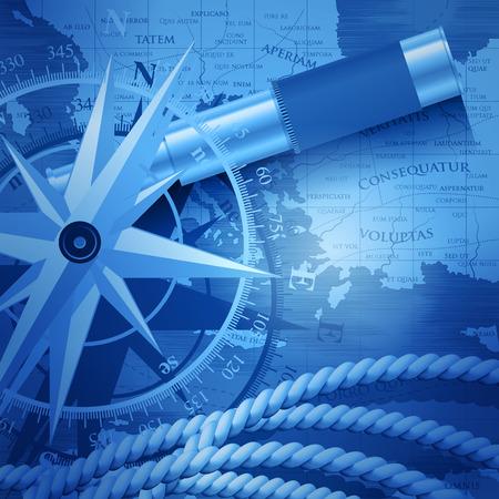 Nautical travel navigation concept background. Vector illustration