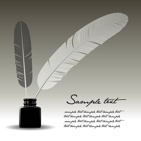 Feather pen and ink bottle isolated on background. Vector illustration
