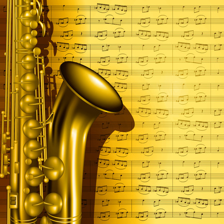 Music background with saxophone and notes. Vector illustration 向量圖像