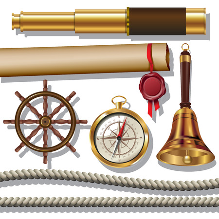 Nautical objects. Rope, compass, steering wheel, spyglass and bell isolated on white. Vector illustration Stok Fotoğraf - 48477064