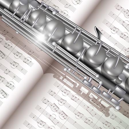 soprano saxophone: Música de fondo con el saxofón y notas. Ilustración vectorial Vectores