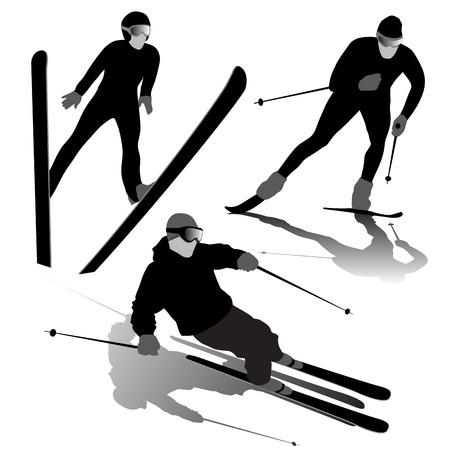Set of ski silhouettes on the white background. Vector illustration