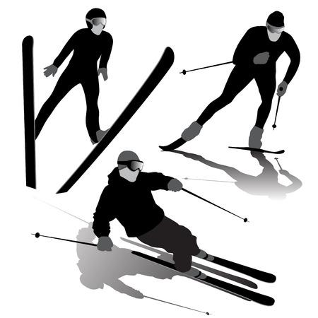 SKI: Set of ski silhouettes on the white background. Vector illustration