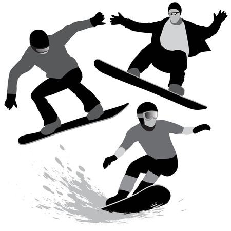 Set of snowboarders silhouettes on the white background. Vector illustration