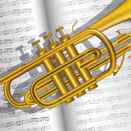 Music background with trumpet and notes. Vector illustration