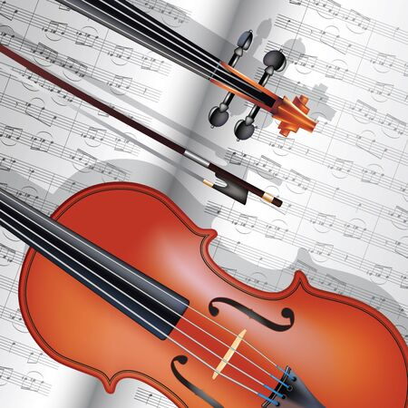 Violin with fiddlestick and musical notes. Vector illustration