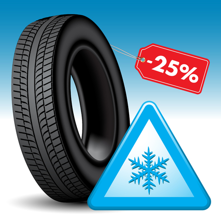 snow tire: Winter tire and snow warning sign isolated on background. Vector illustration