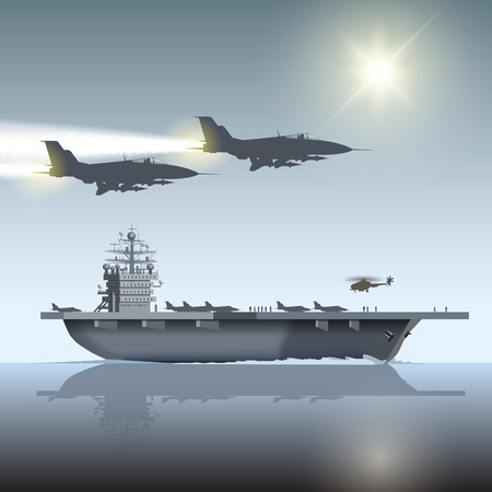 Aircraft carrier and flying aircrafts. Vector illustration