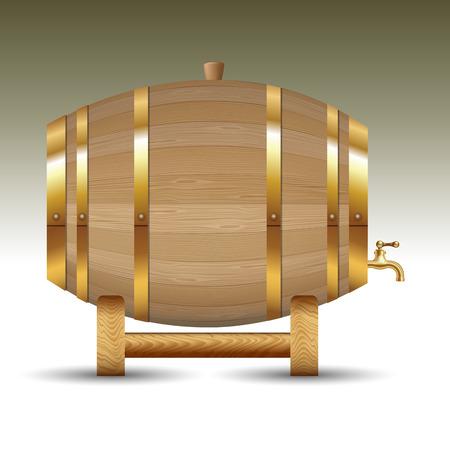 Elegant wooden barrel isolated over background. Vector illustration Çizim