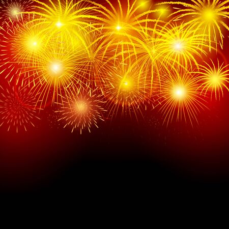 outdoor event: Brightly fireworks in the night sky. Vector illustration Illustration