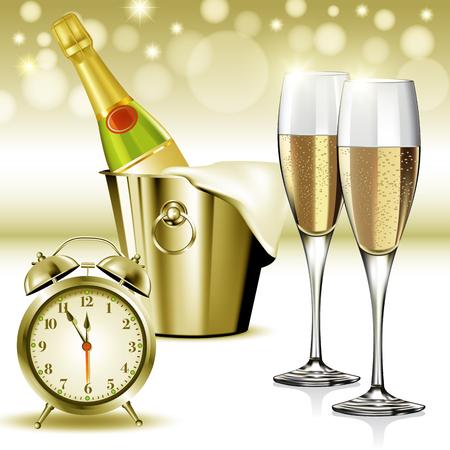 sektglas: Sektgläser bereit, in das neue Jahr bringen. Vektor-Illustration