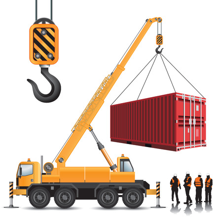 Mobile crane with container isolated on white. Vector illustration Stock Illustratie