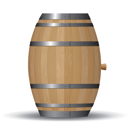Wooden barrel with iron rings isolated on white. Vector illustration Illustration