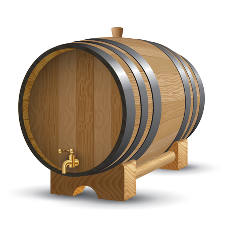 distillery: Wooden barrel with iron rings isolated on white. Vector illustration Illustration