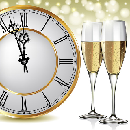 Champagne glasses ready to bring in the New Year. Vector illustration