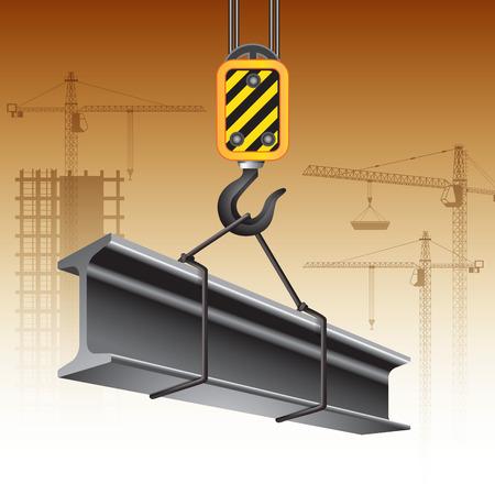 acero: gancho de la grúa con la viga de acero. ilustración vectorial