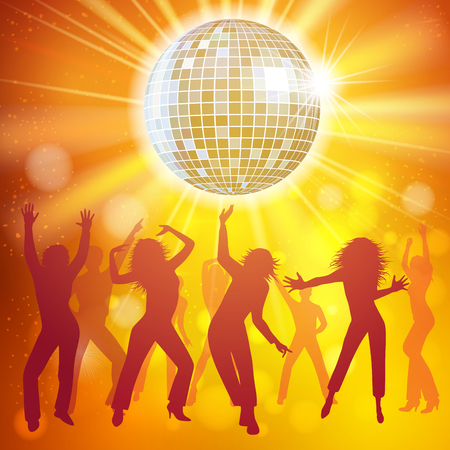 disco: Silhouettes of a party crowd on a glowing lights background. Vector illustration Illustration