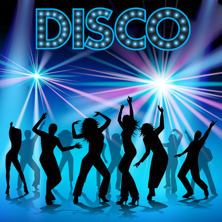 disco: Group of happy young people dancing. Vector illustration