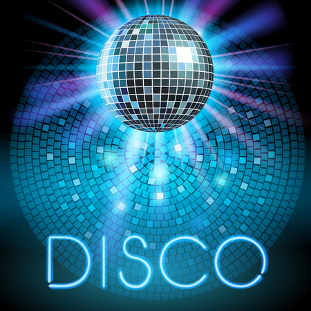 abstract dance: Shiny disco ball. Party background. Vector illustration