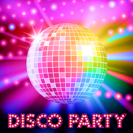 Disco verlichting en glanzende discobal. vector illustratie Stock Illustratie