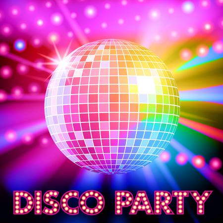 pelota: Luces de discoteca y bola de discoteca brillante. Ilustración vectorial