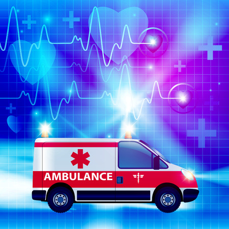 emergency light: Ambulance car isolated on a medical background. Vector illustration