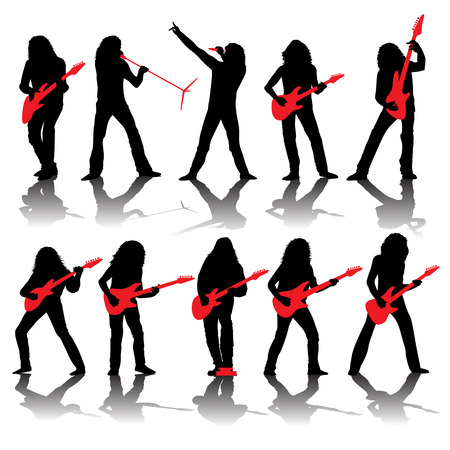 guitarists: Set of guitarists silhouettes isolated on white. Vector illustration