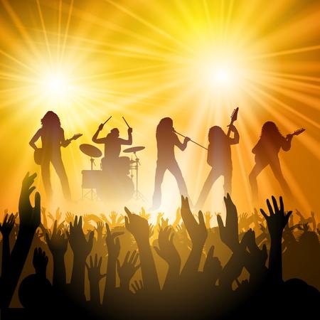 concierto de rock: La banda de rock realiza delante de una muchedumbre. ilustración vectorial Vectores