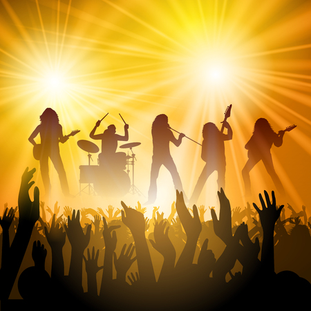 music band: Rock band performing in front of a crowd. Vector illustration