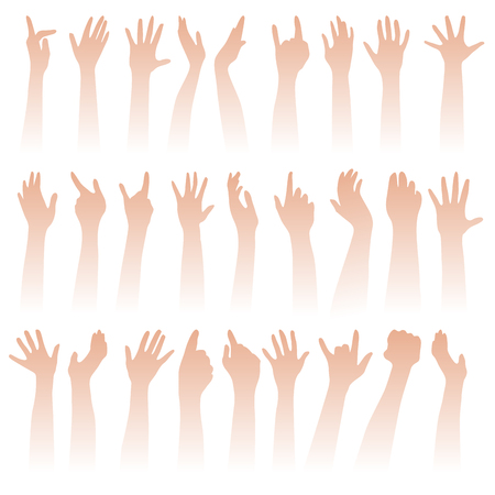 Many hands high up isolated on white. Vector illustration
