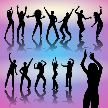 Silhouettes of dancing people isolated on background. Vector illustration
