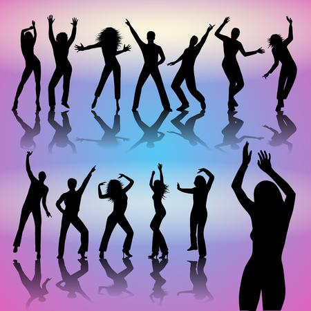 Silhouetten van dansende mensen geïsoleerd op de achtergrond. vector illustratie Stockfoto - 48375165