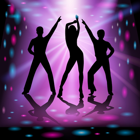 Silhouettes of young dancing people. Vector illustration